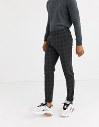 Jack And Jones Intelligence Smart Check Trousers In Grey