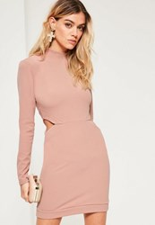 Missguided Pink Cut Out High Neck Long Sleeve Mini Dress