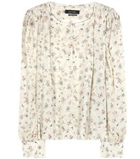 Isabel Marant Thalio Printed Silk Blouse Beige