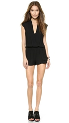 Twelfth St. By Cynthia Vincent Ruffle Flutter Romper Black