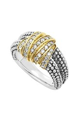 Lagos Women's 'Diamonds And Caviar' Medium Diamond Ring Sterling Silver Gold