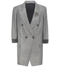 Brunello Cucinelli Embellished Cotton And Linen Blazer Grey
