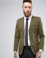 Asos Slim Coated Blazer With Military Details In Khaki Khaki Green