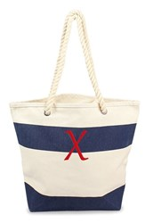 Cathy's Concepts Personalized Stripe Canvas Tote Blue Navy X