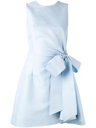 Christian Dior Bow Tie Dress Women Silk Cotton 36 Blue