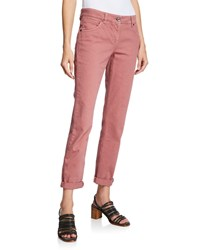 Brunello Cucinelli Mid Rise Garment Dyed Denim Jeans Pink