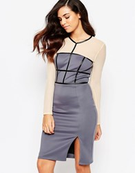 Amy Childs Paige Pencil Dress With Mesh Sleeves Purple