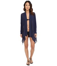 Tommy Bahama Knit Chiffon Sheer Front Cardigan Cover Up Mare Navy Women's Swimwear