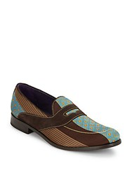 Robert Graham Round Toe Printed Loafers Blue Brown