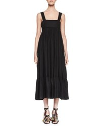 Chloe Square Neck Linen Tie Back Maxi Dress Black
