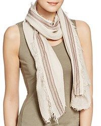 Aqua Border Stripe Scarf 100 Exclusive Sand