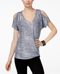 Inc International Concepts Metallic Cold Shoulder Top Only At Macy's Metallic Blue