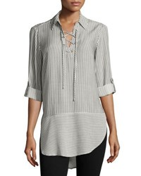 Neiman Marcus Pinstriped Lace Up Tunic Black White