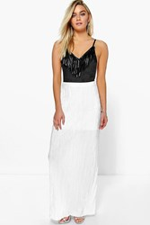 Boohoo Pleated Slinky Maxi Skirt White