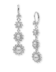 Marchesa Pearl And Crystal Linear Drop Earrings Silver