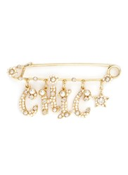 Miriam Haskell 'Chic' Swarovski Crystal Glass Pearl Charm Pin White Metallic