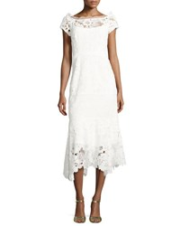 Nanette Lepore Cap Sleeve Lace Illusion Midi Dress Ivory