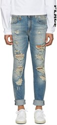 R 13 R13 Blue Distressed Skate Jeans
