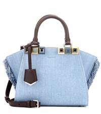 Fendi 3Jours Mini Denim Tote Blue