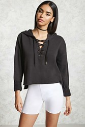 Forever 21 Lace Up Cropped Hoodie