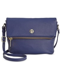 Giani Bernini Pebble Leather Zipper Mini Flap Crossbody Raw Denim