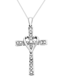 Macy's Cross Diamond Pendant Necklace In 14K Yellow Or White Gold 1 10 Ct. T.W.