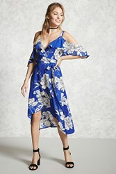 Forever 21 Contemporary Floral Wrap Dress Blue Ivory