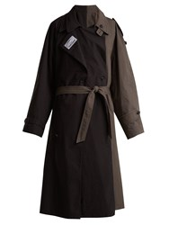Vetements Contrasting Colour Double Trench Coat Black Grey