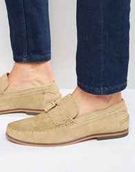 Asos Tassel Loafers In Stone Suede With Fringe And Natural Sole Stone