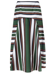 Suno Green Cotton Striped Rasta Skirt