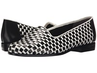 Trotters Liz Black White Dress Kid Leather Patent Man Made Women's Shoes