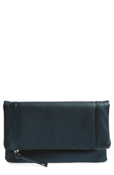 Sole Society Vegan Leather Foldover Clutch Deep Teal