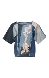 Antonio Marras Denim Patchwork Short Sleeve Top Blue
