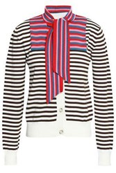 Marco De Vincenzo Striped Knitted Cotton Cardigan Brown