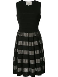 Carolina Herrera Metallic Striped Knit Dress Women Cotton Nylon Rayon Xl Black