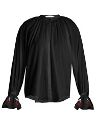 Bliss And Mischief Cherry Embroidered Cotton Voile Shirt Black