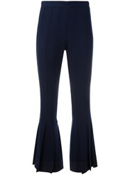 Marco De Vincenzo Pleated Flared Trousers Blue