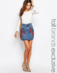 Glamorous Tall Denim Aline Skirt With Floral Embroidery Blue