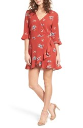 Mimi Chica Ruffle Wrap Front Romper Rust Floral
