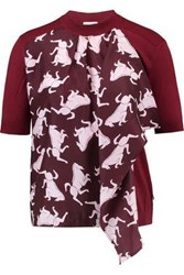 Vionnet Draped Printed Silk And Ribbed Wool Top Burgundy