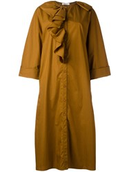 Nina Ricci Ruffled Shirt Dress Brown