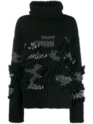 Mcq By Alexander Mcqueen Patchy Knit Turtleneck Jumper Black