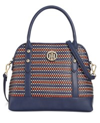 Tommy Hilfiger Hadley Woven Dome Satchel Navy Red