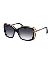 Nina Ricci Metallic Trimmed Square Sunglasses Blue