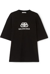 Balenciaga Oversized Printed Cotton Jersey T Shirt Black