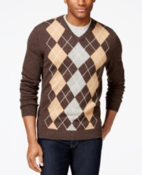 Club Room Cashmere Argyle V Neck Sweater Only At Macy's Porcupine