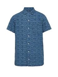 Polo Ralph Lauren Flamingo Print Linen Shirt Blue