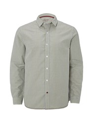 White Stuff Men's Heartland Stripe Long Sleeve Shirt Club Green