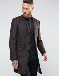 Noose And Monkey Herringbone Overcoat Brown