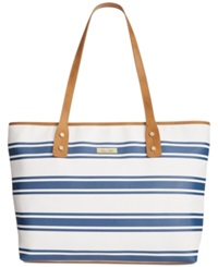 Marc Fisher Day By Day Large Striped Horizontal Tote White Navy